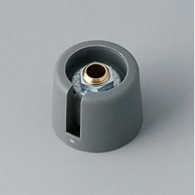 """A3020048 / COM-KNOBS 20 - Con orificio para elemento de marcaje """"Dial"""" 20x16mm - PA 6 - volcano - Orificio de eje 4 mm"""