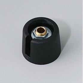 """A3020049 / COM-KNOBS 20 - Con orificio para elemento de marcaje """"Dial"""" 20x16mm - PA 6 - nero - Orificio de eje 4 mm"""