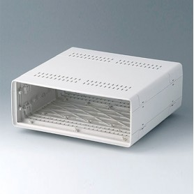 A0224270 / EURO CASE 42 TE, sin asa - ABS (UL 94 HB) - off-white RAL 9002 - 260x250x98,5mm