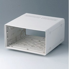 A0234170 / EURO CASE 42 TE, sin asa - ABS (UL 94 HB) - off-white RAL 9002 - 260x250x143mm