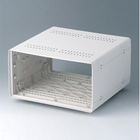 A0234270 / EURO CASE 42 TE, sin asa - ABS (UL 94 HB) - off-white RAL 9002 - 260x250x143mm