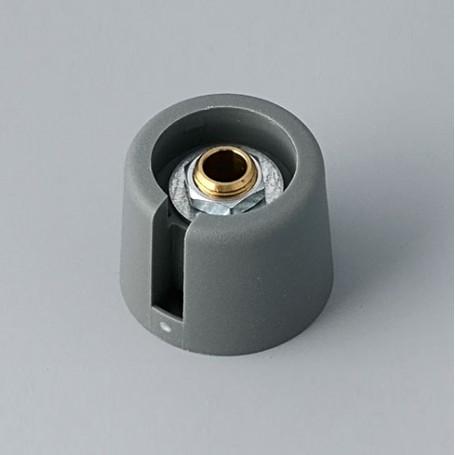 "A3020068 / COM-KNOBS 20 - Con orificio para elemento de marcaje ""Dial"" 20x16mm - PA 6 - volcano - Orificio eje 6 mm"