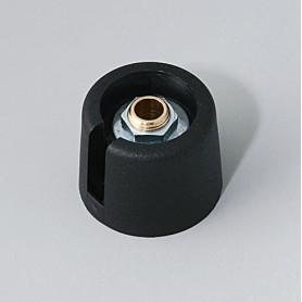 """A3020069 / COM-KNOBS 20 - Con orificio para elemento de marcaje """"Dial"""" 20x16mm - PA 6 - nero - Orificio de eje 6 mm"""