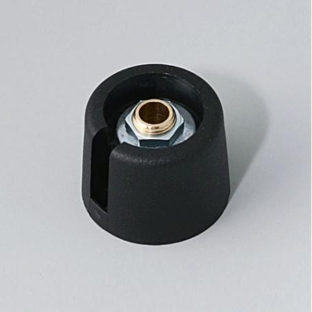 "A3020069 / COM-KNOBS 20 - Con orificio para elemento de marcaje ""Dial"" 20x16mm - PA 6 - nero - Orificio eje 6 mm"
