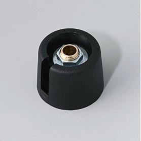 """A3020639 / COM-KNOBS 20 - Con orificio para elemento de marcaje """"Dial"""" 20x16mm - PA 6 - nero - Orificio de eje 1/4″"""