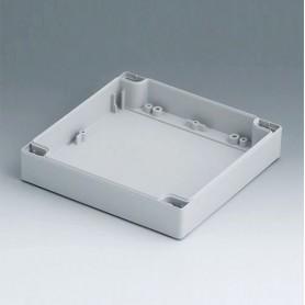 C0161602 / Carcasa 160, con lengüeta - PC (UL 94 HB) - light grey RAL 7035 - 160x160x30mm