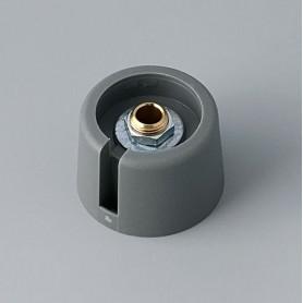 """A3023048 / COM-KNOBS 23 - Con orificio para elemento de marcaje """"Dial"""" 23x16mm - PA 6 - volcano - Orificio de eje 4 mm"""