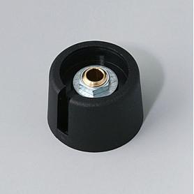 """A3023049 / COM-KNOBS 23 - Con orificio para elemento de marcaje """"Dial"""" 23x16mm - PA 6 - nero - Orificio de eje 4 mm"""