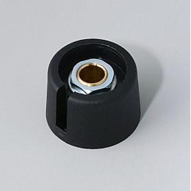 """A3023069 / COM-KNOBS 23 - Con orificio para elemento de marcaje """"Dial"""" 23x16mm - PA 6 - nero - Orificio de eje 6 mm"""