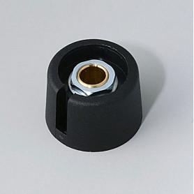 """A3023639 / COM-KNOBS 23 - Con orificio para elemento de marcaje """"Dial"""" 23x16mm - PA 6 - nero - Orificio de eje 1/4″"""