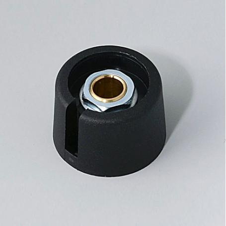 "A3023639 / COM-KNOBS 23 - Con orificio para elemento de marcaje ""Dial"" 23x16mm - PA 6 - nero - Orificio eje 1/4″"