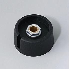 """A3031069 / COM-KNOBS 31 - Con orificio para elemento de marcaje """"Dial"""" 31x16mm - PA 6 - nero - Orificio de eje 6 mm"""
