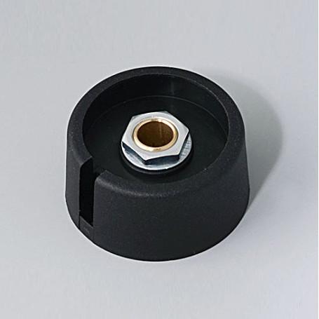 "A3031069 / COM-KNOBS 31 - Con orificio para elemento de marcaje ""Dial"" 31x16mm - PA 6 - nero - Orificio eje 6 mm"