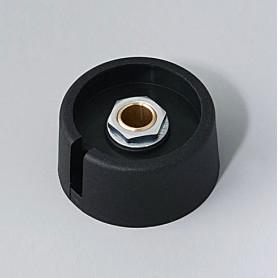 """A3031639 / COM-KNOBS 31 - Con orificio para elemento de marcaje """"Dial"""" 31x16mm - PA 6 - nero - Orificio de eje 1/4″"""