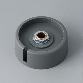 """A3040068 / COM-KNOBS 40 - Con orificio para elemento de marcaje """"Dial"""" 40x16mm - PA 6 - volcano - Orificio de eje 6 mm"""