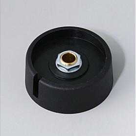 """A3040069 / COM-KNOBS 40 - Con orificio para elemento de marcaje """"Dial"""" 40x16mm - PA 6 - nero - Orificio de eje 6 mm"""