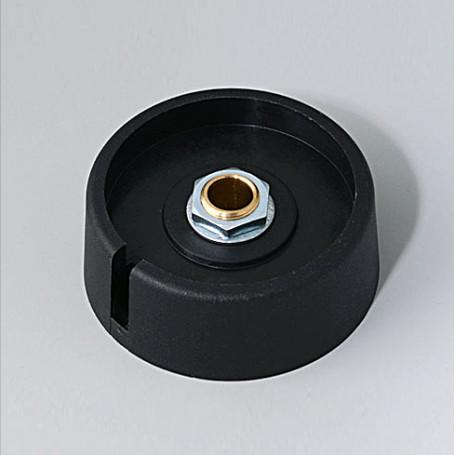 "A3040069 / COM-KNOBS 40 - Con orificio para elemento de marcaje ""Dial"" 40x16mm - PA 6 - nero - Orificio eje 6 mm"