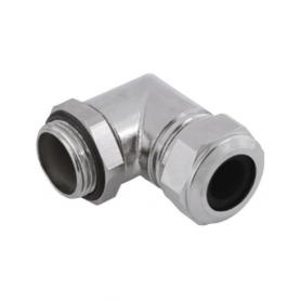 5215.17 / Prensaestopas Progress® codo de latón niquelado 90º - Rosca métrica de entrada LARGA con contratuerca - M16x1.5