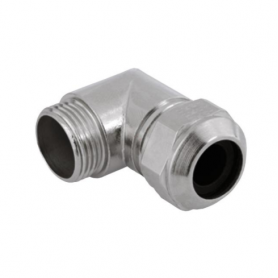 5200.20 / Prensaestopas Progress® codo de latón niquelado 90º - Rosca métrica de entrada CORTA - M20x1.5
