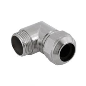 5200.13 / Prensaestopas Progress® codo de latón niquelado 90º - Rosca métrica de entrada CORTA - Pg 13