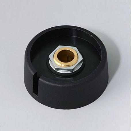"A3040089 / COM-KNOBS 40 - Con orificio para elemento de marcaje ""Dial"" 40x16mm - PA 6 - nero - Orificio eje 8 mm"