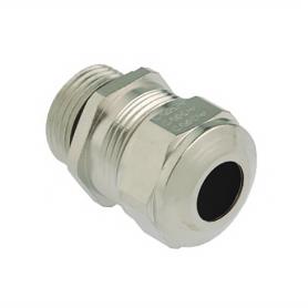 1180.17.100 / Prensaestopas Progress® EMC de latón niquelado con manguito de contacto - Rosca métrica de entrada LARGA - M16x1.5