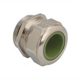 1080.09.91.080 / Prensaestopas Progress® EMC latón niquelado con manguito de contacto - Rosca métrica de entrada CORTA - Pg 9