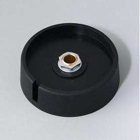 "A3050069 / COM-KNOBS 50 - Con orificio para elemento de marcaje ""Dial"" 50x16mm - PA 6 - nero - Orificio eje 6 mm"