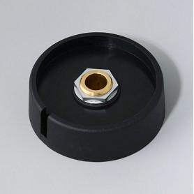 """A3050089 / COM-KNOBS 50 - Con orificio para elemento de marcaje """"Dial"""" 50x16mm - PA 6 - nero - Orificio de eje 8 mm"""