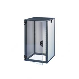 16230-019 / Armario Novastar con puerta acristalada y panel trasero - Slim-Line (RAL 7021/7035 / 589 Al x 553 An x 600  Pr)