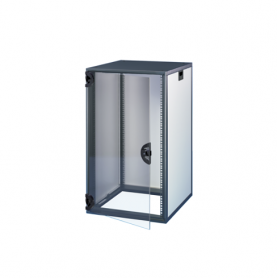 16230-020 / Armario Novastar con puerta acristalada y panel trasero - Slim-Line (RAL 7021/7035 / 767 Al x 553 An x 600  Pr)