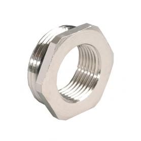 3500.09.12 / Adaptador de latón niquelado con junta tórica (Rosca exterior Pg 9 / Rosca interior Métrica M12x1.5)