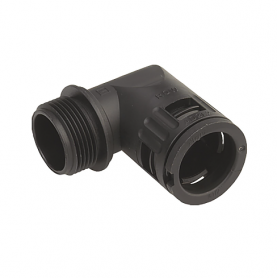 5020.036.225 / Conector de Codo 90 ° Sintético V0 (UL 94) - Diám.Ext.Ø 21.2 mm - Rosca de entrada M25x1.5