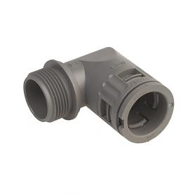 5020.028.016 / Conector de Codo 90 ° Sintético V0 (UL 94) - Diám.Ext.Ø 21.2 mm - Rosca de entrada Pg 16