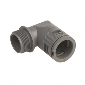 5020.028.021 / Conector de Codo 90 ° Sintético V0 (UL 94) - Diám.Ext.Ø 28.5 mm - Rosca de entrada Pg 21