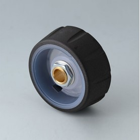 B7136061 / CONTROL-KNOBS 36, iluminación opcional - PC - nero - 36x14,7mm - Orificio de eje 6mm