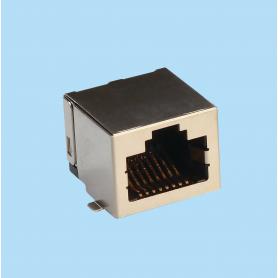 7571 / Jack Telefónico apantallado SMD con LED acodado - Right Angle PCB