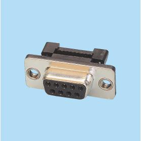 8021 / Conector hembra recto SUB-D cable plano - Paso 2,54 x 2,54 mm