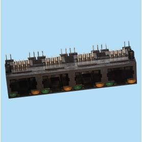7671 / Jack múltiple acodado - Con LED y Sin apantallamiento